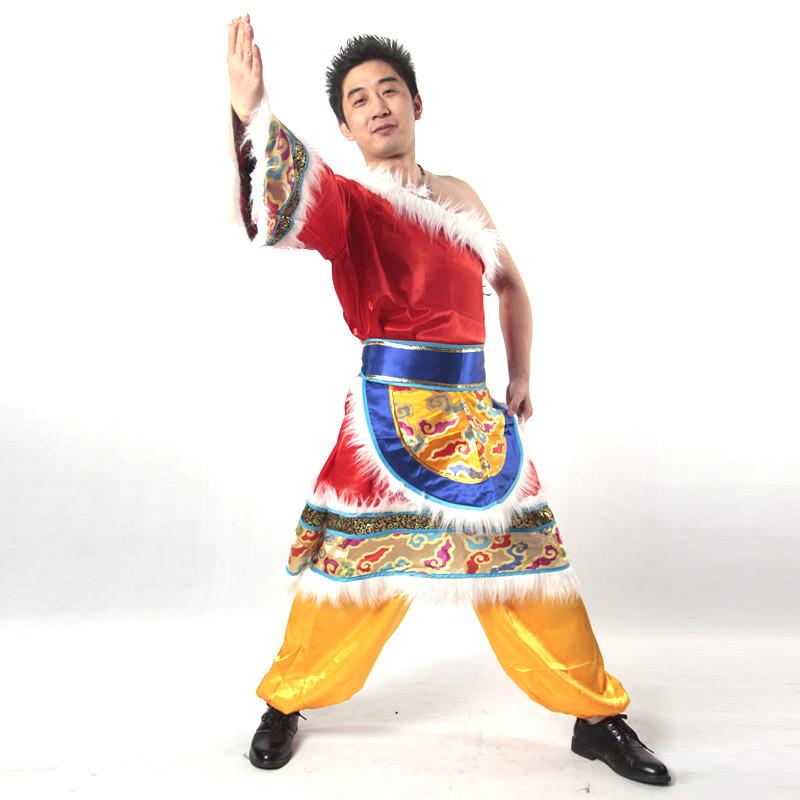 红色单肩男士藏族舞蹈服装_少数民族舞蹈演出服装