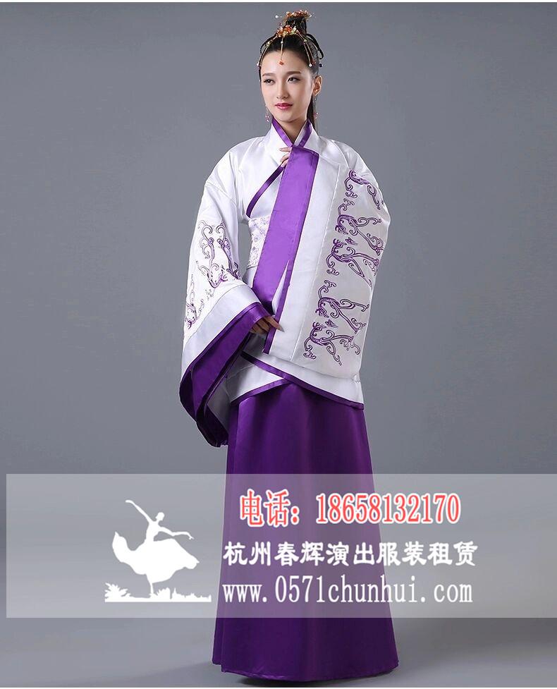 女生汉服 曲裾 白衣紫裙