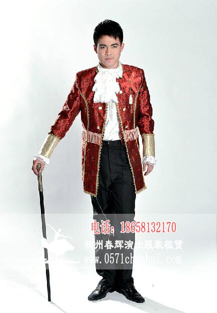 国外服装 表演服装 男 欧洲宫廷服装 大帅服装 欧式演出服 酒红色